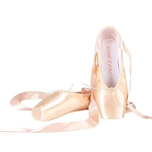 DANCEYOU professionelle Spitzenschuhe Ballettschuhe Tanzschuhe Ballettschläppchen mit genähtem Band für Mädchen und Damen mittlere Weichheit EU 39