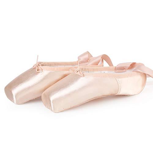 Spitzenschuhe Rosa Ballettschuhe Professionell Tanzschuhe mit Spitzenschoner und genähtes Band für Damen/Mädchen (Bitte wählen Sie eine Nummer größer) 38