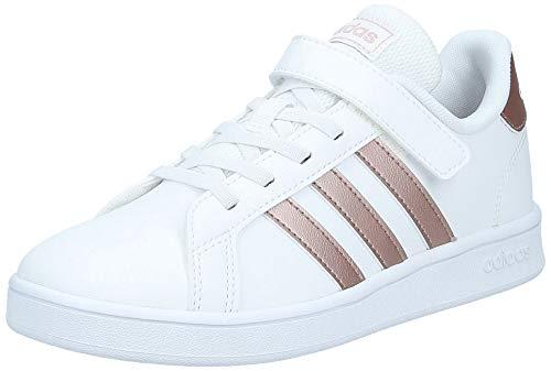 adidas Unisex Kinder Grand Court C Sneaker, FTWWHT/COPPMT/GLOPNK, 28 EU