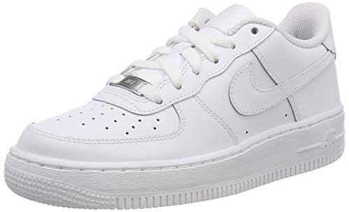 Nike Unisex-Kinder AIR FORCE 1 (GS) Low-Top, Weiß (117 WHITE/WHITE-WHITE), 37.5 EU