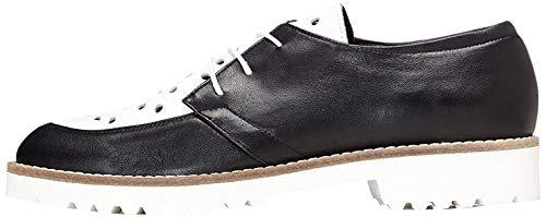 find. Schuhe Damen mit Schlangenleder-Optik und Lochverzierungen, Schwarz (Black), 40 EU