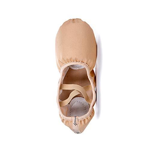 2 Paare Ballettschuhe Mädchen Damen Tanzschuhe ballettschläppchen mit Band Kinder Erwachsene Unterstützung Leinwand Ballet Tanz Trainings Flache Schläppchen Schuhe,A,EU43=UK8=265mm