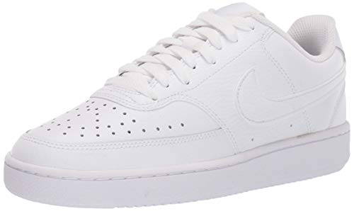 Nike Womens Court Vision Low Sneaker Basketball Shoe, White White White, 37.5 EU