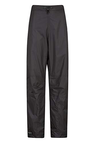Mountain Warehouse Spray Wasserfeste Überhose für Damen - Hose mit Netzfutter, Ripstop, Regenhose mit Reißverschluss am Bein - Für Frühling, Wandern und Radfahren Schwarz 40