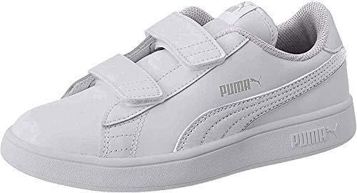 PUMA Unisex-Kinder Smash v2 L V Inf Sneaker, White White, 24 EU
