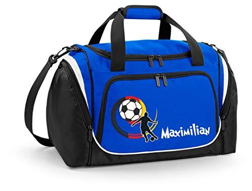 Mein Zwergenland Sporttasche Kinder mit praktischem Schuhfach Sporttasche mit Namen Deutschlandball als Aufdruck Farbe Royal Blau 39 L Stauraum die perfekte Sporttasche für Kinder
