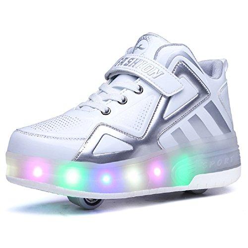 Unisex Kinder LED Rollschuh Schuhe mit Einstellbare Doppelräder LED Lichter blinken Skateboardschuhe Outdoor-Sportarten Gymnastik Rollerblades Sneaker für Mädchen Jungen (36 EU, Weiß 805)
