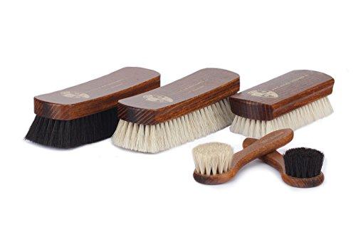 Langer & Messmer 5er Set Schuhbürsten aus Rosshaar und Ziegenhaar für die professionelle Schuhpflege von Schuhen aus Glattleder