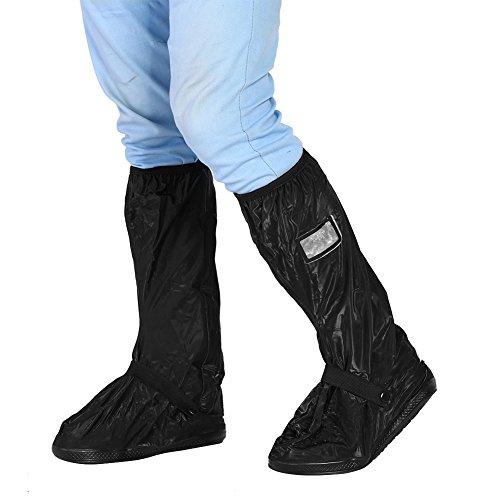 Motorrad Schuhe Abdeckung Regenüberschuhe Wasserdicht Schuh Rutschfeste Regen Schuhe Abdeckung Wiederverwendbare Motorradstiefel Abdeckung Regenschutz (M-Black)