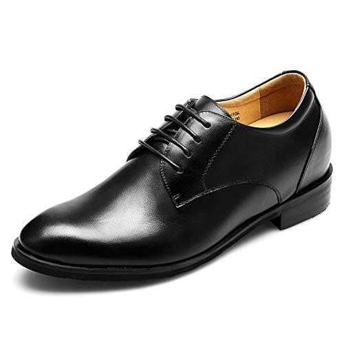 CHAMARIPA Herren Oxford Stil Elevator Schuhe aus Kalbsleder Business Schnürhalbschuhe - 7,5 cm höher - DX70H106S (42)
