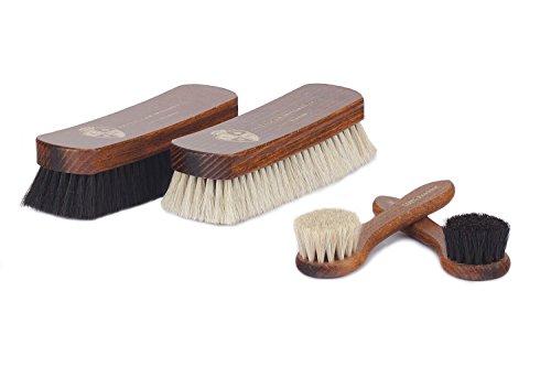 Langer & Messmer 4er-Set Schuhbürsten aus Rosshaar für die professionelle Schuhpflege von Schuhen aus Glattleder