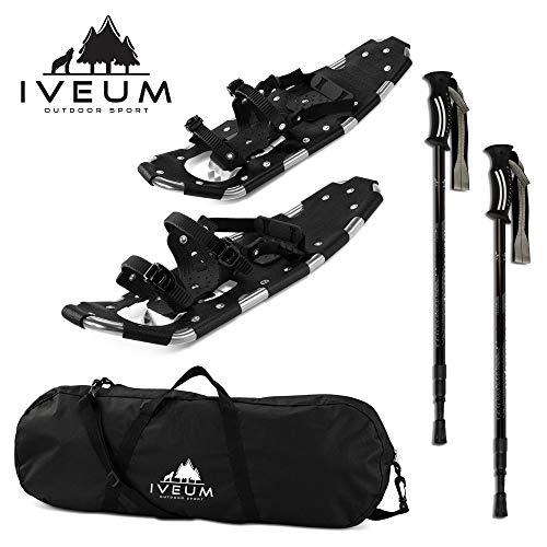 Schneeschuhe für Damen und Herren Inkl. Tasche und verstellbare Stöcke - Schnee Schuhe bis 120kg - für leichtes wandern durch Schnee - 120kg