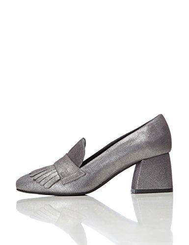 find. Schuhe Damen mit Schlangenleder-Optik und Tasseln, Silber (Silver), 41 EU