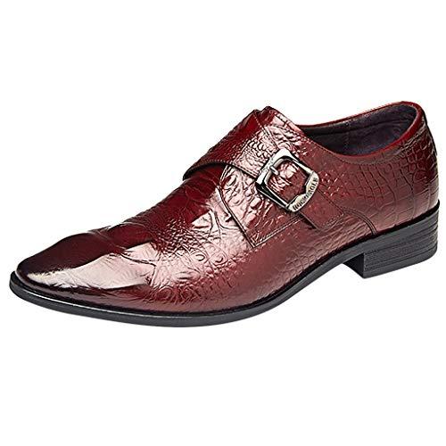 YIHANK Mokassin Schuh Leder Krokodilleder Herren Derby Business Hochzeit Casual Slip On Mönch Schuhe