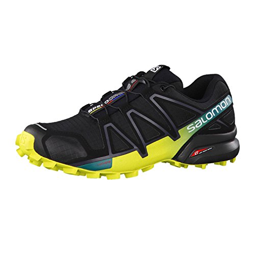 Salomon Herren Trail Running Schuhe, SPEEDCROSS 4, Farbe: schwarz/gelb (Black/Everglade/Sulphur Spring) Größe: EU 46