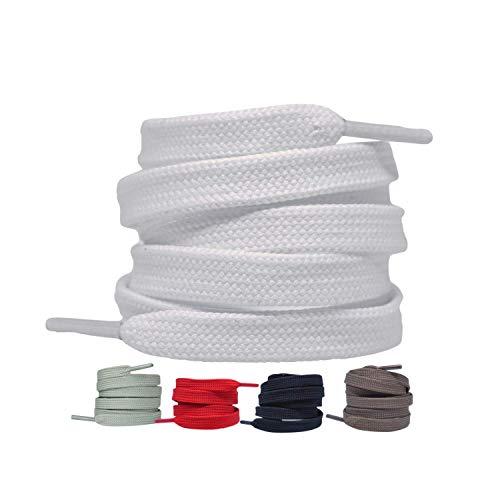 2 Paar - Premium Flache Schnürsenkel reißfeste Schuhbänder [10 mm breit ] Ersatz Shoelaces aus Polyester für Sneakers, Sportschuhe, Laufschuhe, Turnschuhe (Weiß, 120)