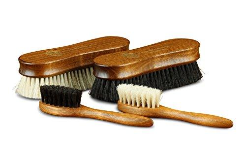 Langer & Messmer 4er-Set Premium Schuhbürsten | Polierbürsten aus Rosshaar - noch dichter besteckt für bessere Polierergebnisse bei der Schuhpflege