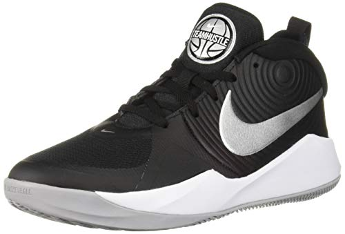 Nike Unisex-Erwachsene Team Hustle D 9 (GS) Basketballschuhe, Mehrfarbig (Black/Metallic Silver/Wolf Grey/White 000), 40 EU