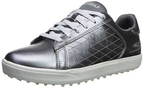 Skechers Damen Spikeless Waterproof Golf Shoe Drive 4, Golfschuhe ohne Spikes, wasserdicht, Zinnfarben, 37 EU