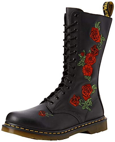 Dr. Martens VONDA Embroidery BLACK, Damen Combat Boots, Schwarz (Black), 42 EU (8 Damen UK)