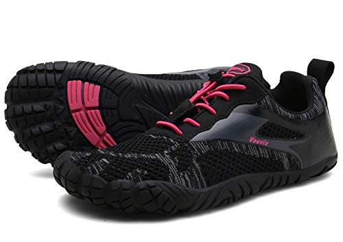 Voovix Herren Trekkingschuhe Damen Wanderschuhe Barfußschuhe Laufschuhe Traillaufschuhe Knit Sneaker Fitnessschuhe im Sommer black/red39