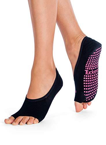 Tucketts Yoga Pilates Socken, Yoga Socken für Frauen - Rutschfeste Haftsocken ohne Zehen - Stoppersocken (Damen) – Pilates Socken Geeignet für Pilates - Barre - Ballett (Schwarz)