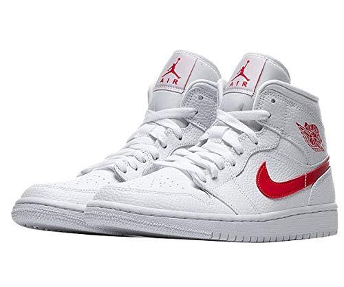 Nike Damen WMNS AIR Jordan 1 MID Basketballschuh, White Univ Red, 40.5 EU