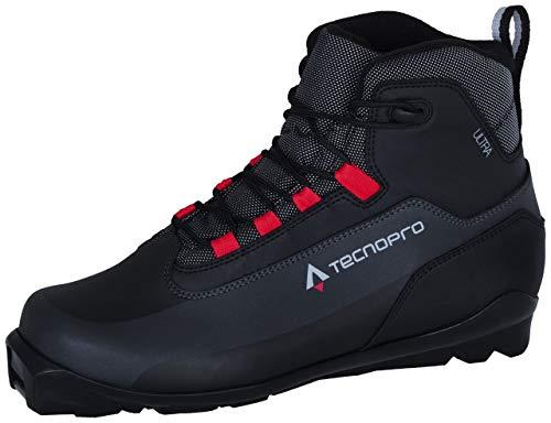 TECNOPRO Herren Ultra Traillaufschuh, Schwarz/Grau/Rot, 46 EU