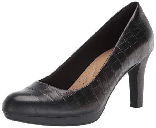 Clarks Damen Women's Adriel Viola-Black Croc Leather-6W Pumps, Schwarzes Krokodilleder, 36 EU