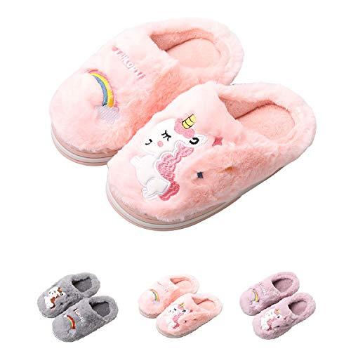 HausFine Hausschuhe Plüsch Wärme Weiche Hausschuhe rutschfeste Pantoffeln Pantoletten Kuschelige Einhorn Hausschuhe für Mädchen Jungen Kinder (32-33 EU, Rosa)