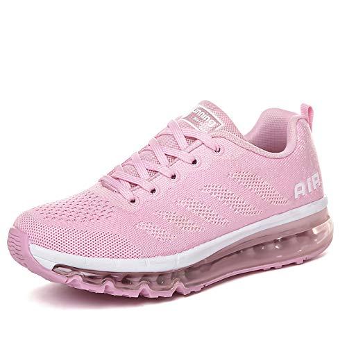 smarten Sportschuhe Herren Damen Laufschuhe Unisex Turnschuhe Air Atmungsaktiv Running Schuhe mit Luftpolster Pink 39 EU