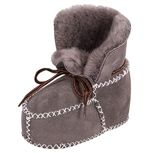 amropi Baby Schuh Stiefel, Unisex-Kinder Babyschuhe in Lammfell-Optik Zum Binden Krabbel-& Hausschuhe (Grau, 12-18 Monate)