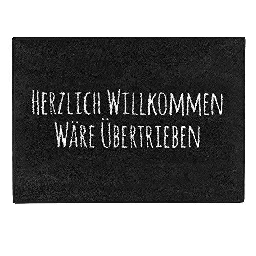 """Pechkeks Fußmatte mit Spruch """"Herzlich Willkommen. """" (Größe 70x50cm rutschfest, waschbar, schwarz), 70x50"""