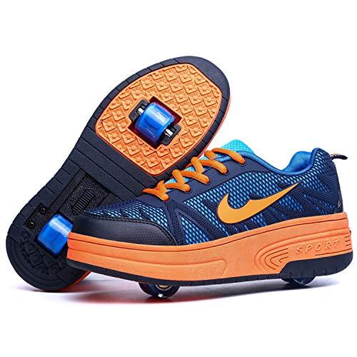 Wasnton Skater-Schuhe / Kinder-Turnschuhe mit 1-2Rollen, Skateboardschuhe, Orange - Orange2 - Größe: 33 EU Estrecho