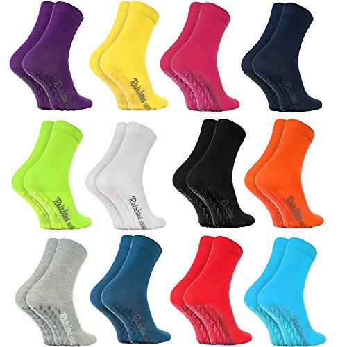 Rainbow Socks - Damen Herren Bunte Baumwolle Antirutsch Socken ABS - 12 Paar - Weiß Blau Blau Marine Schwarz Rot Lila Blau Orange Pink Grau Grün Gelb - Größen 39-41