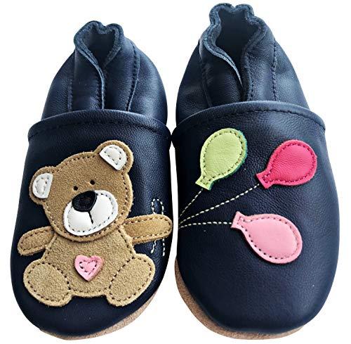 ENGEL + PIRATEN Krabbelschuhe - MARKENQUALITÄT viele Motive bis 4 Jahre Babyschuhe Leder Babyhausschuhe Lauflernschuhe Lederpuschen (26/27 EU, Teddy Girl)
