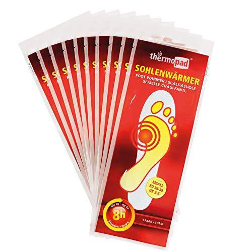 THERMOPAD Sohlenwärmer in Gr. S (36-39) – DAS ORIGINAL: 10 Paar Wärmepads (Einlegesohle) für 8 Stunden Wärme I Sofort verwendbare Fußwärmer Pads I Extra warme Wärmesohle für Schuhe, Skischuhe & Boots