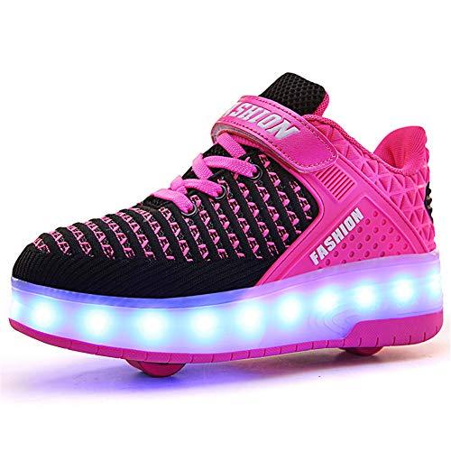 Unisex Kinder Jungen Mädchen LED Rollschuh Schuhe mit USB Aufladen Blinken Leuchtend Skateboardschuhe Outdoor-Sportarten Gymnastik Mode Rollerblades Sneaker
