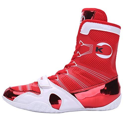 Herren Boxerstiefel, Hohe Spitzen Schuhe Einstellbare Breathable Boxer Stiefel Für Damen Kinder Jungen Und Mädchen Wrestling,Rot,40
