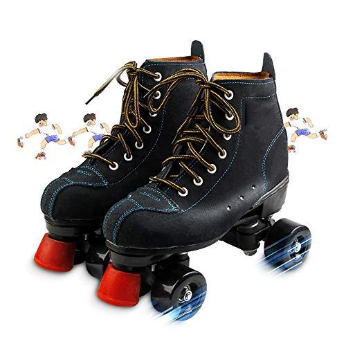 Masskko Quad Skates Herren Und Damen Skateschuhe Riemenscheibenschuhe Für Erwachsene Skates Mit Zweireihigem,43