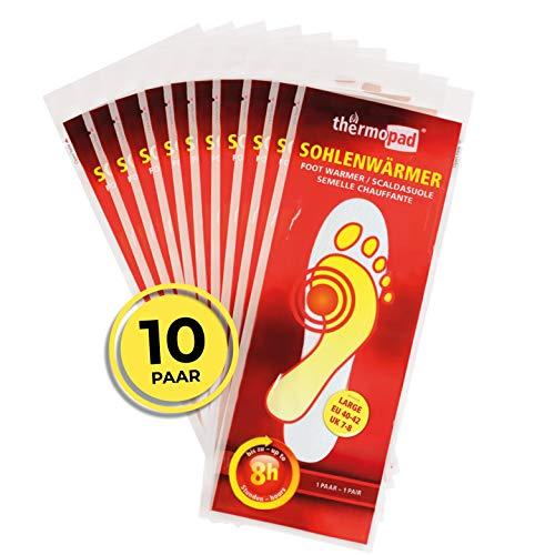 THERMOPAD Sohlenwärmer in Gr. L (40-42) – DAS ORIGINAL: 10 Paar Wärmepads (Einlegesohle) für 8 Stunden Wärme I Sofort verwendbare Fußwärmer Pads I Extra warme Wärmesohle für Schuhe, Skischuhe & Boots