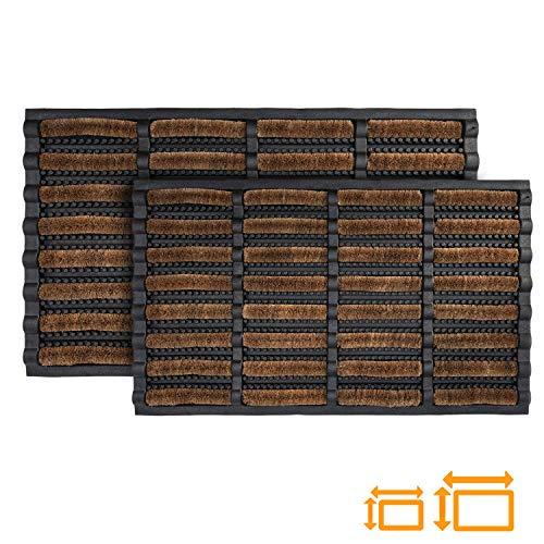 GadHome hochbeanspruchsbare Fußmatte, 40 x 60 cm | Matte aus Kokosfaser und Gummi für drinnen und draußen | rutschfeste und waschbare Schmutzfangmatte mit Wasserablauflöchern