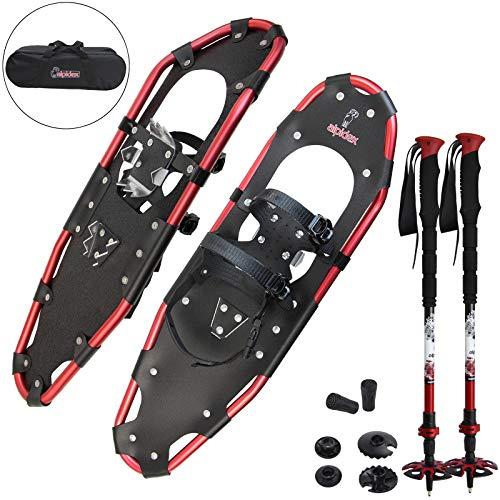 ALPIDEX Schneeschuhe Aluminium Rahmen Damen Herren ab Schuhgröße 36 bis 135 kg Ratschenbindung Tragetasche, Farbe:Black/Red 30 mit Stöcken