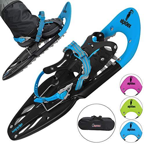 ALPIDEX Schneeschuhe 25 INCH Schuhgröße 38-45 bis 130 kg Steighilfe Tragetasche Optional Stöcke, Farbe:Blue ohne Stöcke