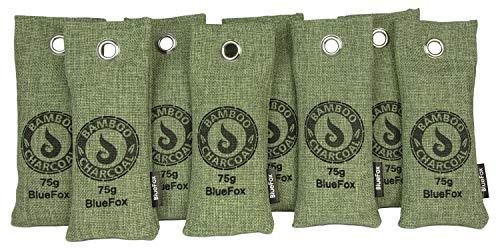 BlueFox 8er Set 75g Aktivkohle Luftreiniger Schuhe Anti-Schimmel Luftentfeuchter Bambus I frischer Schrank Entfeuchter I Schweißgeruch entferner Sportschuhe I gegen Feuchtigkeit gegen Gestank I grün
