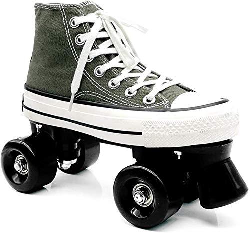 RZiioo Quad Skates Inline Skates Herren- und Damen-Skateschuhe Riemenscheibenschuhe für Erwachsene Skates mit zweireihigem Deformrad,No Full Flash,44