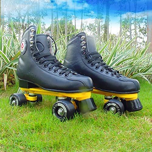 LAYBAY Rollschuhe Zweireihige Rollschuhe Rollschuhe Rollschuhe Herren und Damen Erwachsene Allrad-Skateschuh Kopfschicht Rindsleder EU30~46